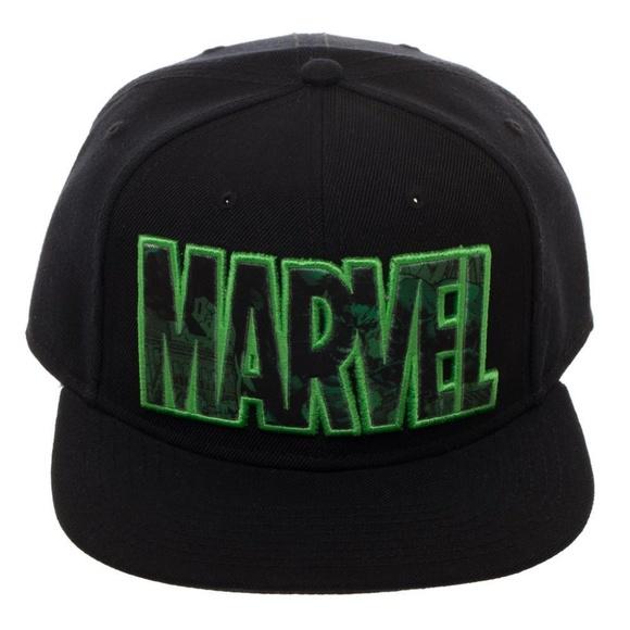 Incredible Hulk Marvel Snapback Hat Black Avengers 76fcda4f99d